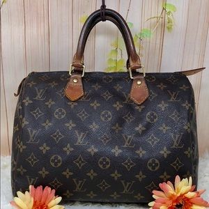 Authentic Leather Vuitton Speedy 30 Satchel Bag